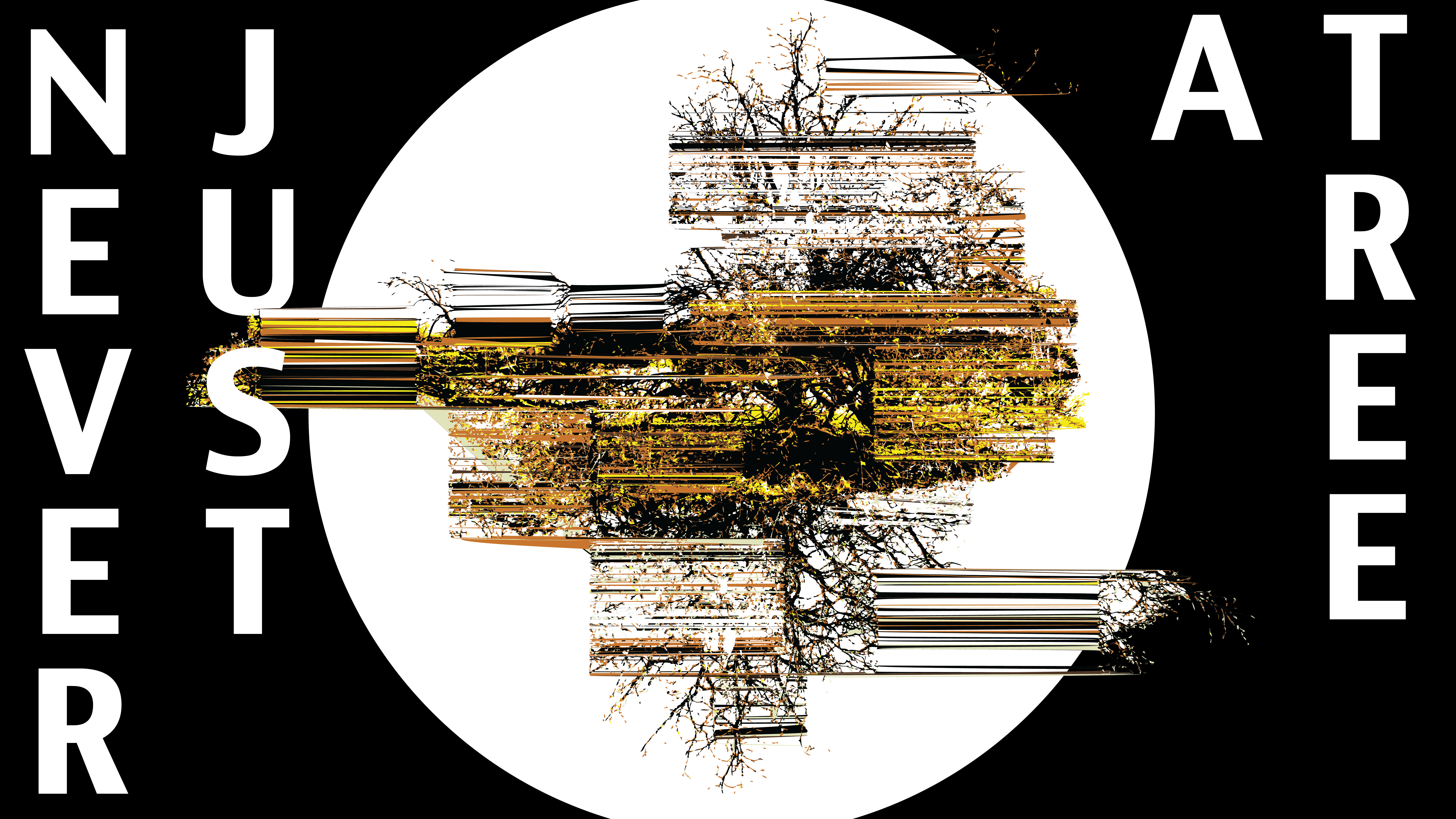 logo image for the project Never Just a Tree by artist Shane Finan, showing a glitched tree on a white circle
