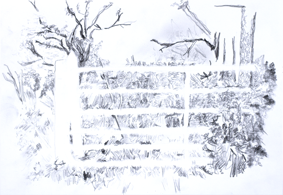 A pencil drawing of a farm gate.