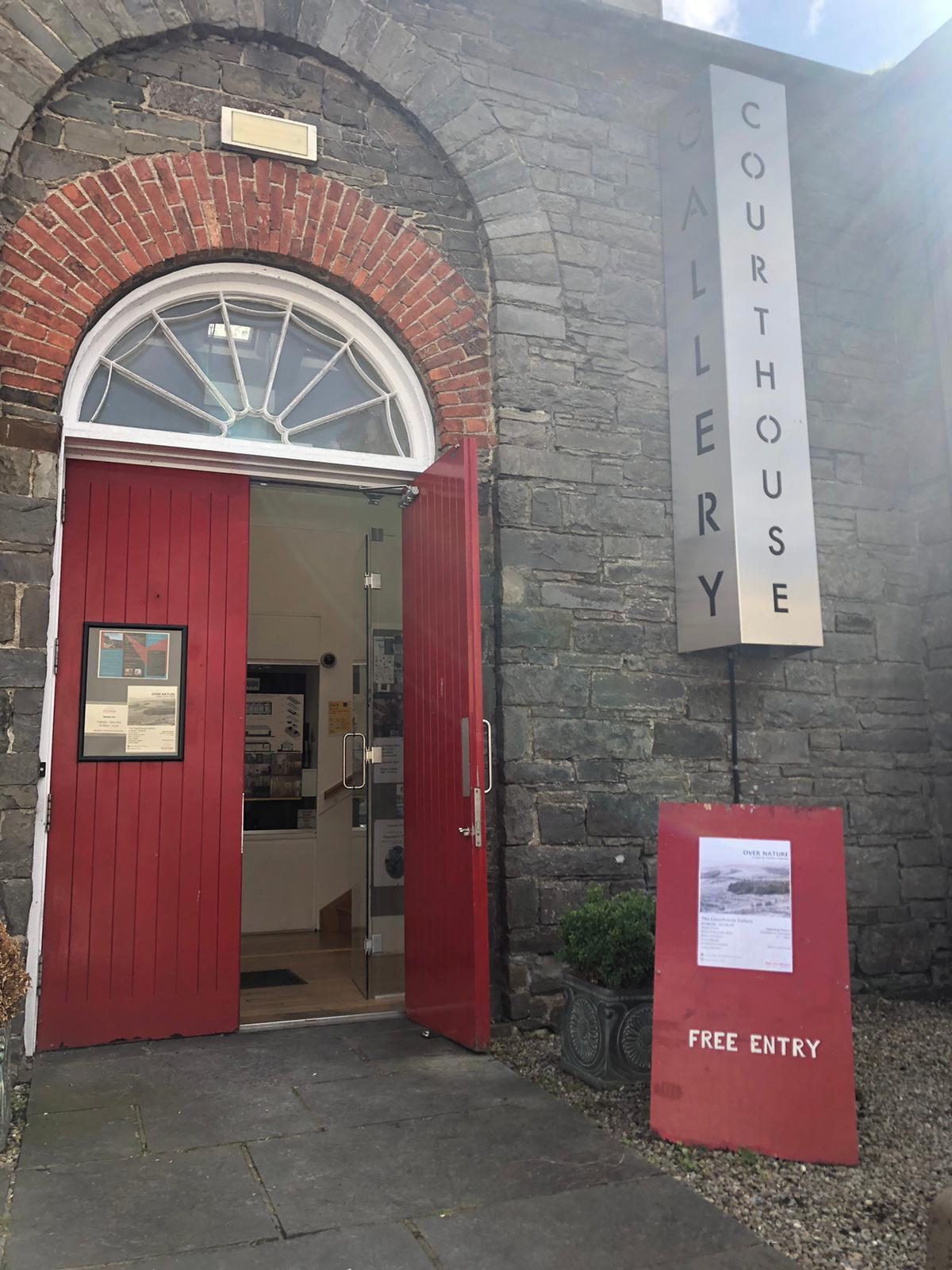 Photograph of the front door of the Courthouse Gallery, Ennistymon, during the exhibition Over Nature