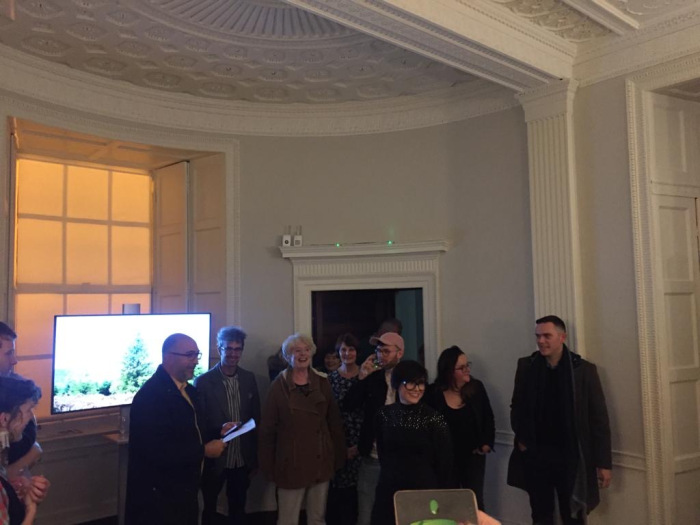 over nature artists at the launch of the exhibition in Rathfarnham Castle, 2019
